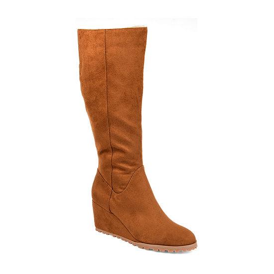 Journee Collection Womens Parker-Wc Wedge Heel Zip Dress Boots