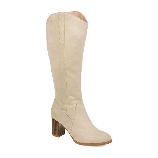 Journee Collection Womens Parrish-Xwc Dress Stacked Heel Zip Boots