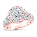 Womens 1 1/2 CT. T.W. Genuine White Diamond 10K Gold 10K Rose Gold Engagement Ring