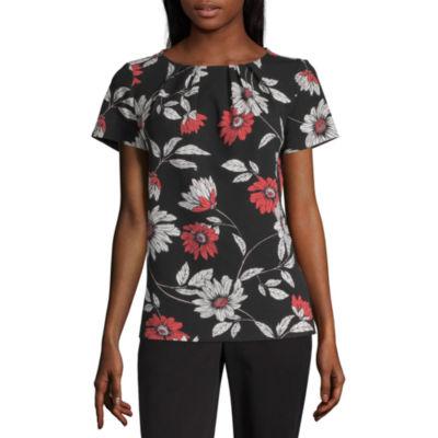 Liz Claiborne Secret Garden Womens Round Neck Short Sleeve Blouse