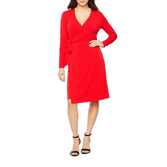 Bold Elements Long Sleeve Wrap Dress