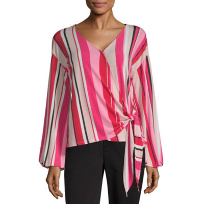 Worthington Womens Y Neck Long Sleeve Knit Blouse