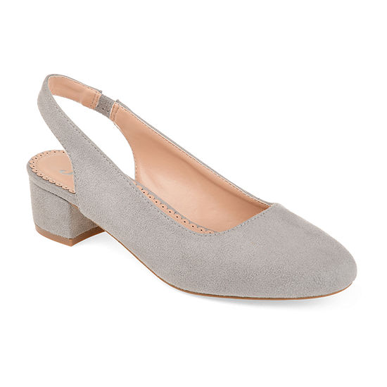 Journee Collection Womens Zippy Pumps Slip-on Pointed Toe Block Heel