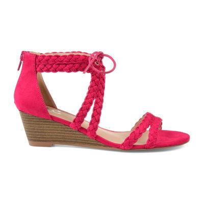 Journee Collection Womens Aubree Pumps Zip Open Toe Wedge Heel
