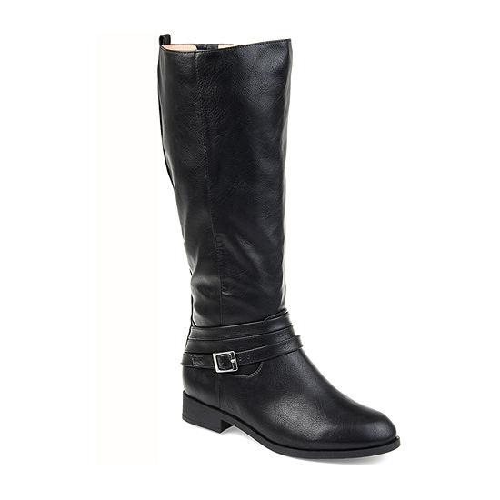 Journee Collection Womens Ivie Xwc Stacked Heel Zip Riding Boots