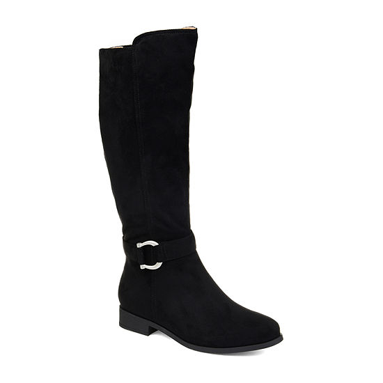 Journee Collection Womens Cate Wide Calf Stacked Heel Zip Riding Boots