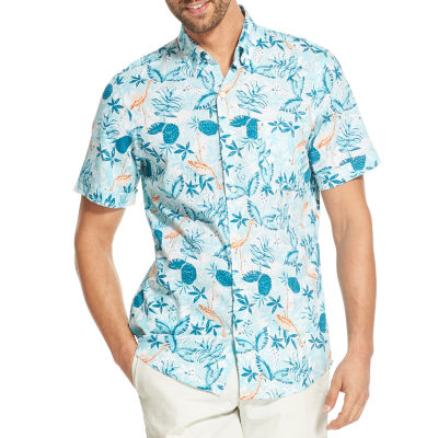 IZOD Chambray Mens Short Sleeve Button-Front Shirt