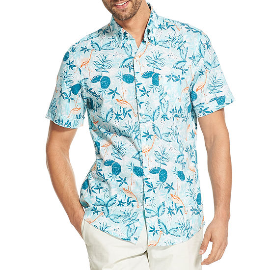 Izod Chambray Mens Short Sleeve Button Front Shirt