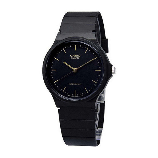 Casio® Mens Black Dial Black Resin Strap Watch MQ24-1ELLUB