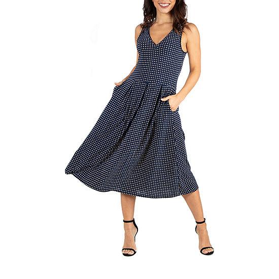 24/7 Comfort Apparel Midi Fit and Flare Pocket Dress