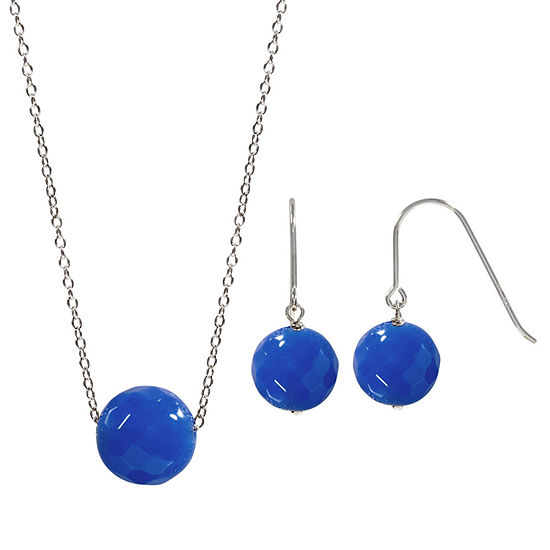 Genuine Blue Agate Sterling Silver 2-pc. Jewelry Set