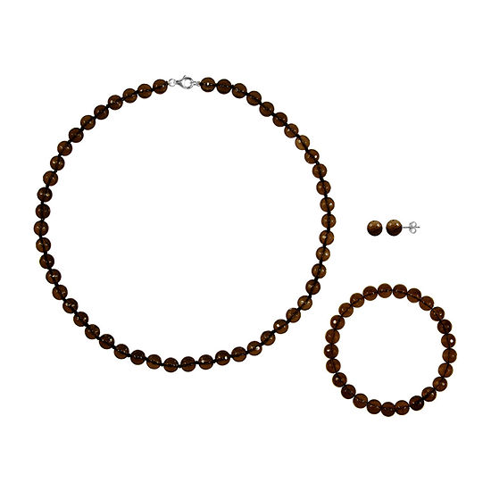 Genuine Brown Agate Sterling Silver 3-pc. Jewelry Set