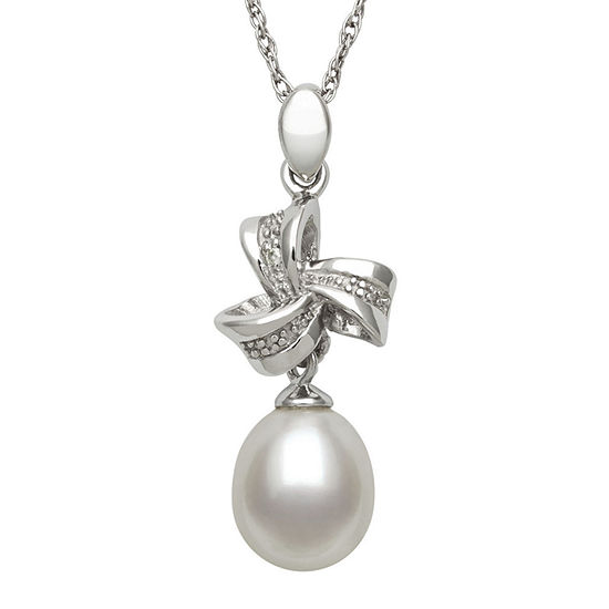 Sterling Silver Cultured Freshwater Pearl and Diamond-Accent Pendant Necklace