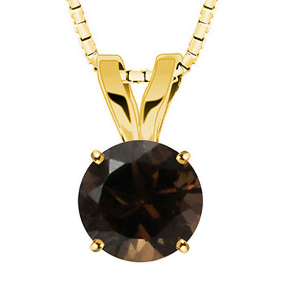 Round Genuine Smoky Quartz 10K Yellow Gold Pendant