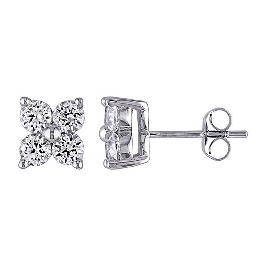 Lab-Created White Sapphire 10K White Gold Stud Earrings