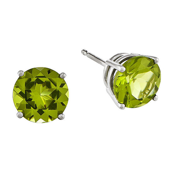 Genuine Green Peridot 14K White Gold Stud Earrings