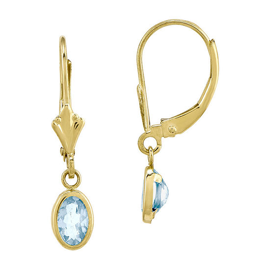 Genuine Aquamarine 14K Yellow Gold Drop Earrings