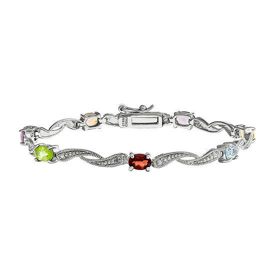 Genuine Multi Gemstone and Diamond Accent Sterling Silver Bracelet