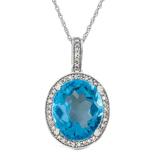 Womens 1/8 CT. T.W. Genuine Blue Topaz 10K Gold Pendant Necklace
