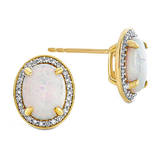 1/5 CT. T.W. Genuine White Diamond 10K Gold 9.5mm Stud Earrings