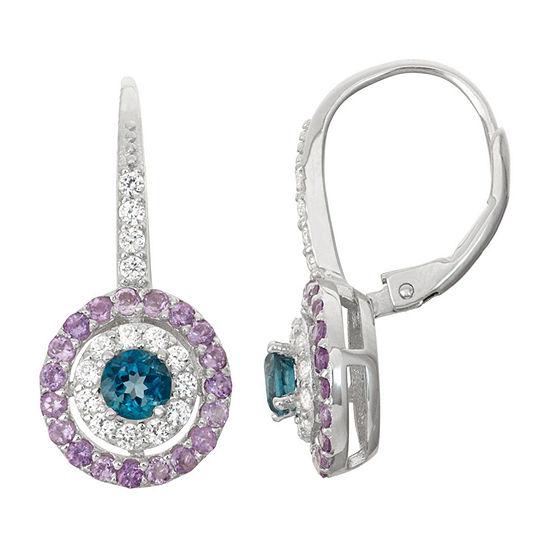 Genuine Blue Topaz & Genuine Amethyst Sterling Silver Earrings