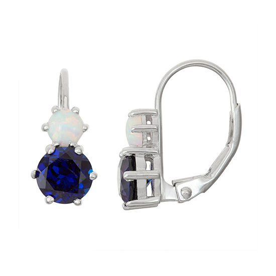 Lab-Created Blue Opal & White Sapphire Sterling Silver Leverback Earrings