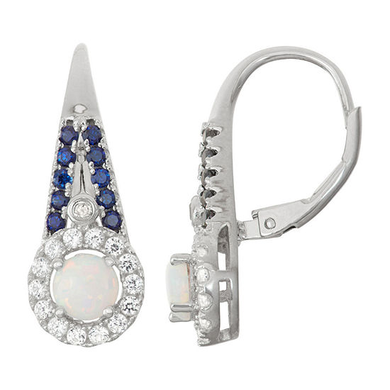 Lab-Created Opal & Sapphire Diamond Accent Sterling Silver Leverback Earrings