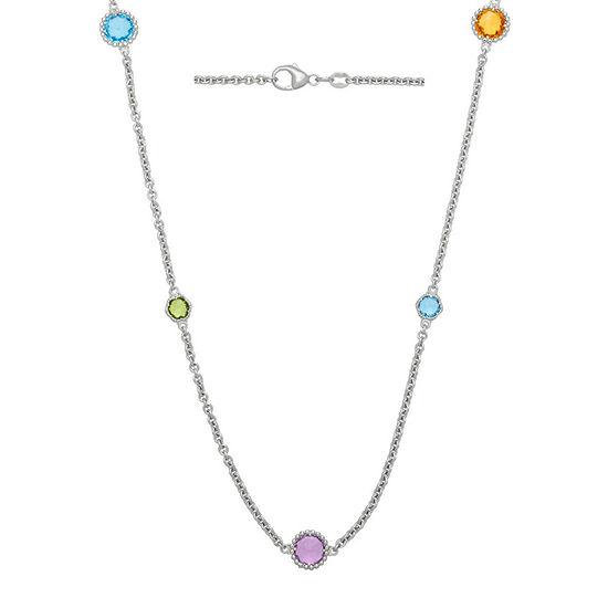 Genuine Multicolor Gemstone Sterling Silver Necklace