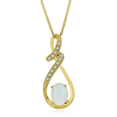 Womens Lab Created White Opal 14K Gold Over Silver Round Pendant Necklace