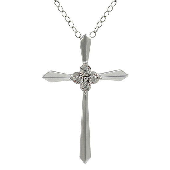 Diamond Accent Cross Pendant Necklace 10K White Gold