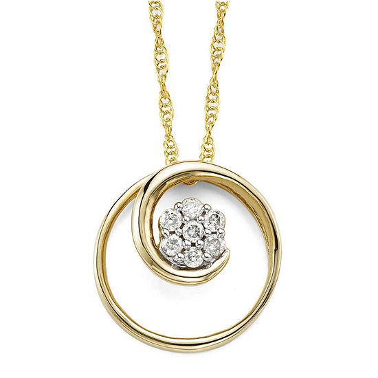 diamond blossom 1/6 CT. T.W. Diamond 10K Yellow Gold Swirl Pendant Necklace