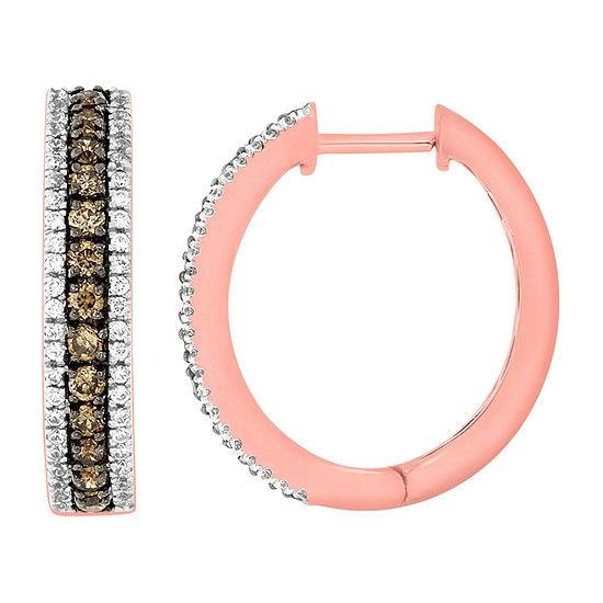 1 CT. T.W. Genuine Champagne Diamond 14K Gold 21.9mm Hoop Earrings
