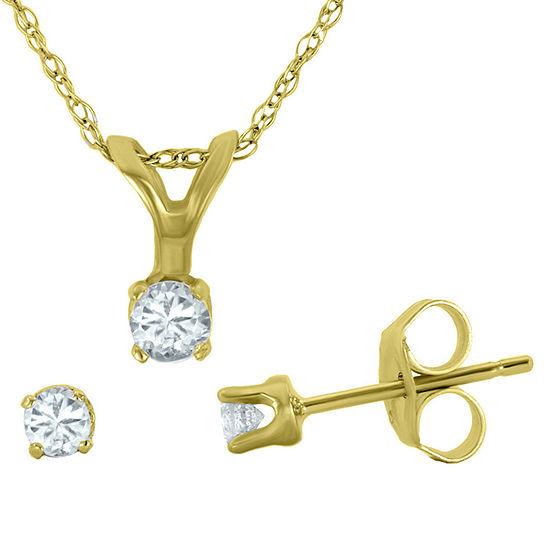 1/4 CT. T.W. Diamond Pendant Necklace & Stud Earring Set