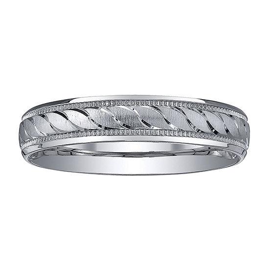 Womens 4mm Swirled Silver Wedding Band Ring