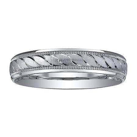 Womens 4mm Swirled Silver Wedding Band Ring, 6 , White