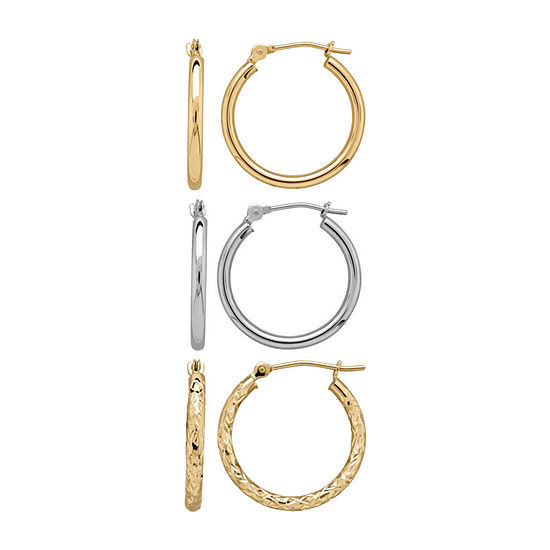 Infinite Gold™ 14K Two-Tone Gold 3-pr. Hoop Earring Set