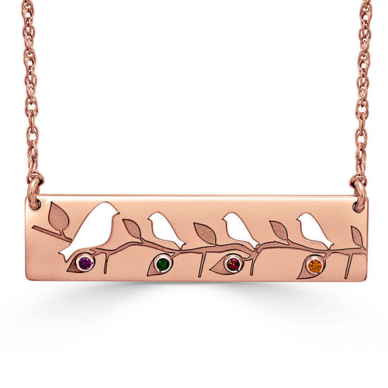 Womens Multi Color Stone 14K Gold Round Pendant Necklace