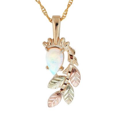 Black Hills Gold Womens White Opal 10K Tri-Color Gold Flower Pendant
