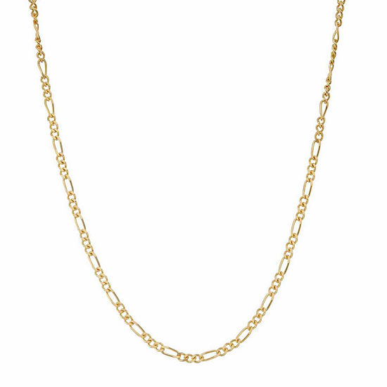 14K Gold Over Silver 15 Inch Solid Figaro Chain Necklace