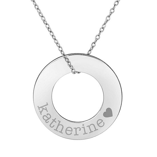 Personalized Sterling Silver 26mm Circle Name Pendant Necklace