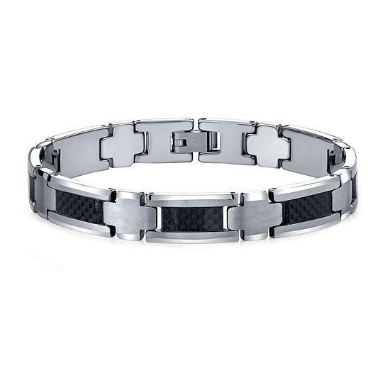 Men's Polished Tungsten & Carbon Fiber Bracelet