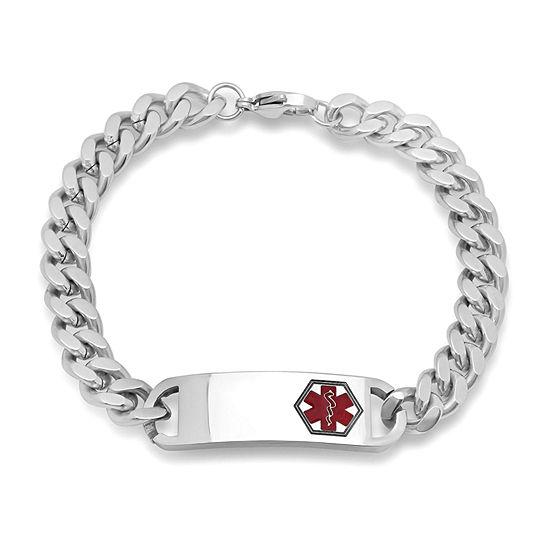 Steeltime Stainless Steel 8 Inch Semisolid Curb Link Bracelet