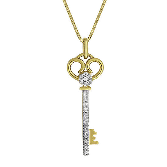 diamond blossom 1/10 CT. T.W. Diamond 14K Yellow Gold Over Sterling Silver Pendant Key Necklace