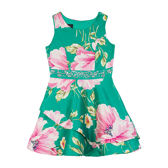 by&by girl Little & Big Girls Sleeveless Floral A-Line Dress