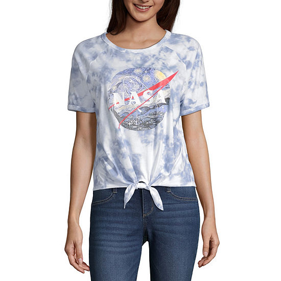 Juniors Nasa Womens Round Neck Short Sleeve Graphic T-Shirt