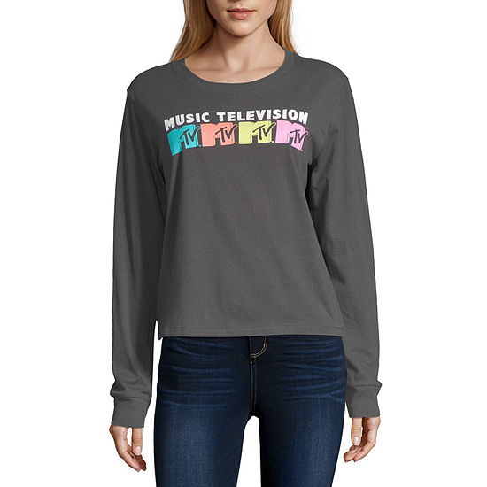 Juniors Womens Round Neck Long Sleeve Sweatshirt
