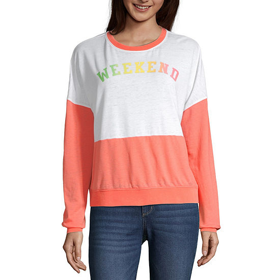 Juniors Womens Round Neck Long Sleeve Sweatshirt
