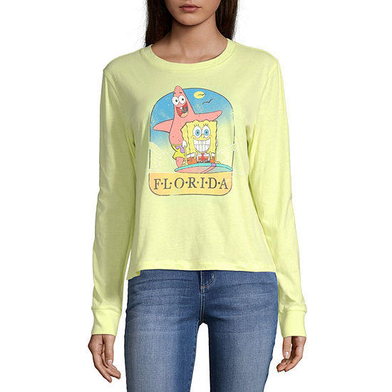 Juniors Womens Round Neck Long Sleeve Spongebob Sweatshirt