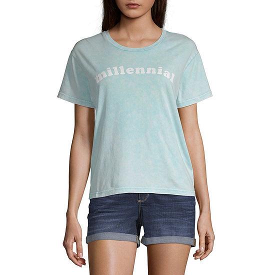 Juniors Verbiage Womens Round Neck Short Sleeve Graphic T-Shirt