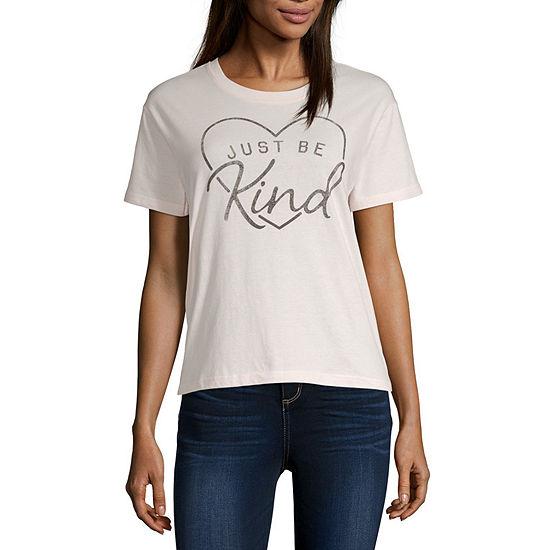 Juniors Verbiage Womens Crew Neck Short Sleeve Graphic T-Shirt